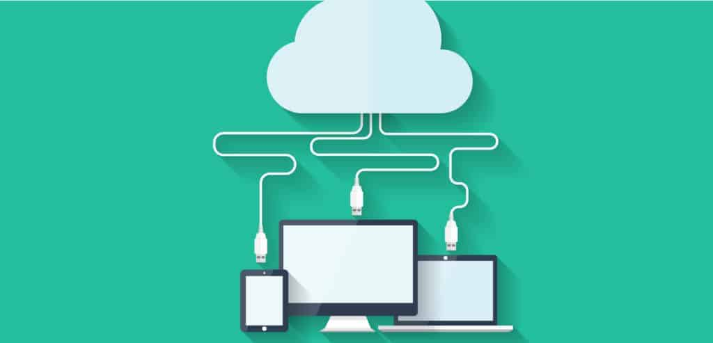 Illustration with computers being connected to a cloud depicting files in the cloud