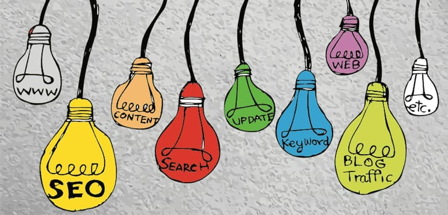 Illustration of light bulbs hanging from a ceiling with words describing what's needed for a website.