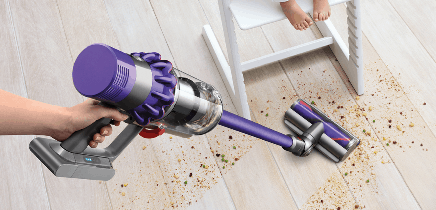 Dyson sweeping up a mess