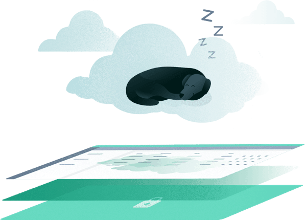 An illustration with a dog sleeping on a cloud with the Scout app for Dog Walking and Pet Sitting companies beneath it.
